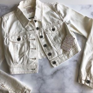 Free People Distressed Crop Denim Jacket Ivory